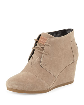 Suede Lace-Up Wedge Boot, Taupe
