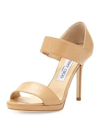 Alana Leather Double-Band Sandal, Nude