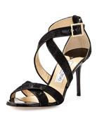 Louise Glitter Crisscross Sandal, Black