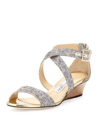Chiara Glitter Demi-Wedge Sandal, Champagne