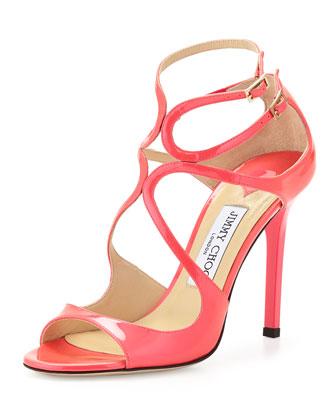 Lang Patent Strappy Sandal, Geranium