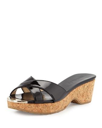 Panna Patent Slide Sandal, Black