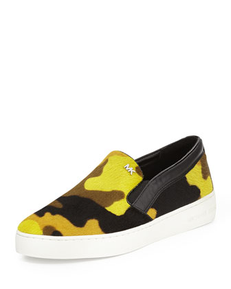 Keaton Calf Hair Slip-On Sneaker, Acid Lemon Camo