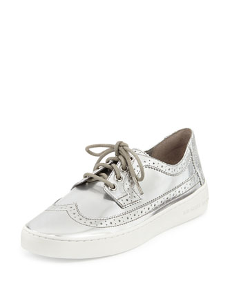 Piers Lace-Up Metallic Wingtip Sneaker, Silver