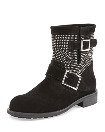 Youth Studded Suede Biker Boot, Black/Silver