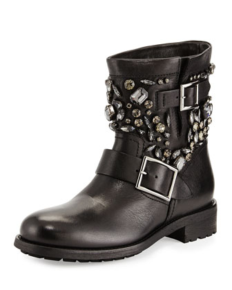 Youth Crystal-Embellished Biker Boot