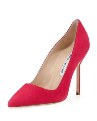 BB Suede 105mm Pump, Fuchsia