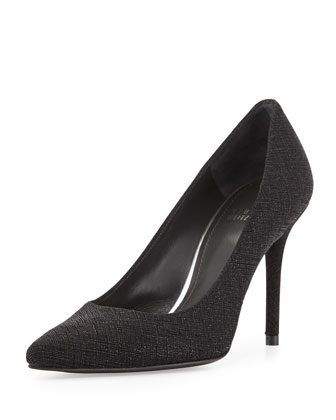 Flirt Saffiano Point-Toe Pump, Black