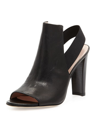 Fronton Leather Slingback Bootie, Black