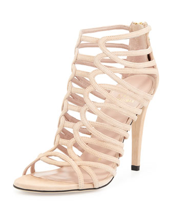 Loops Leather Strappy Cage Sandal, Tan