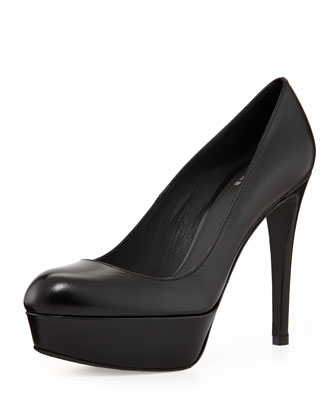 Mae Leather Platform Pump, Black