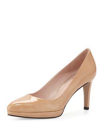 Plato Patent Leather Pump, Nude