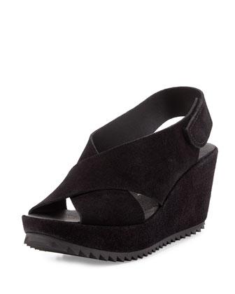 Federica Suede Platform Sandal, Black