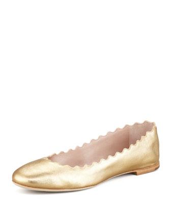 Scalloped Metallic Leather Ballerina Flat