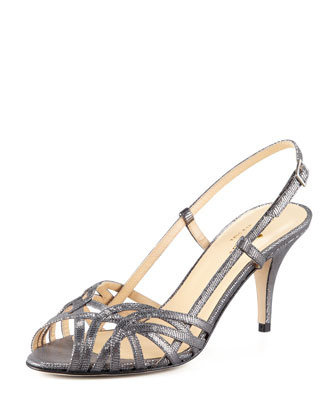 shari metallic lizard-print sandal