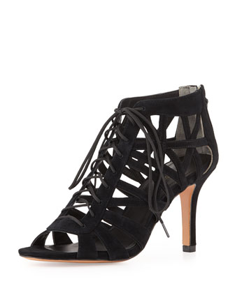 Charlize Lace-Up Cage Bootie