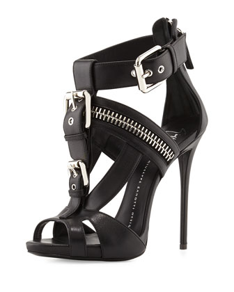 Buckled T-Strap Biker Sandal, Black