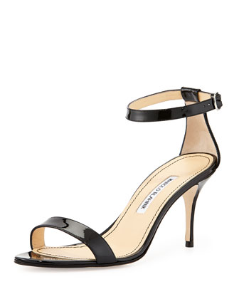 Chaos Patent Leather Naked Sandal, Black
