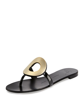 Metal Circle Thong Slide Sandal, Nero-Oro