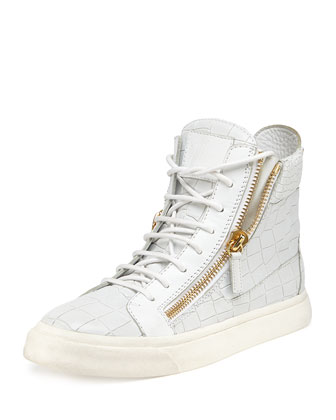 Crocodile-Print High-Top Sneaker, Bianco (White)
