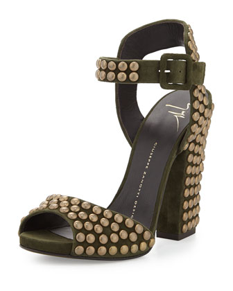Studded Ankle-Wrap Chunky-Heel Sandal, Militare
