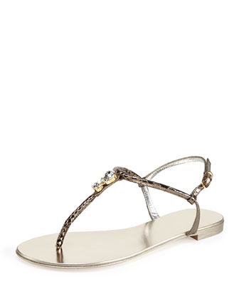 Metallic Snakeskin-Embossed Sandal
