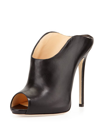 Leather Peep-Toe Dip-Front Mule, Black