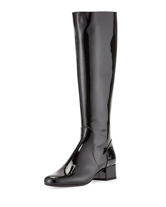 Patent Leather Knee Boot, Black