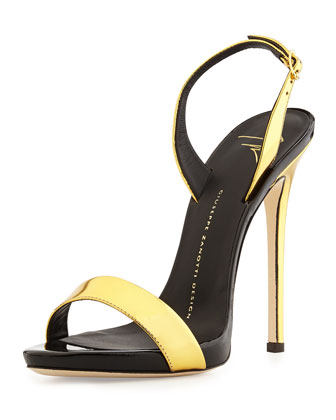 Metallic High-Heel Halter Sandal, Gold/Black