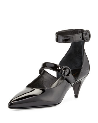 Patent Double-Strap Pump, Black