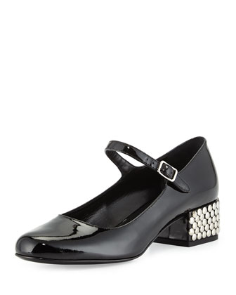 Stud-Heel Mary Jane Pump, Black