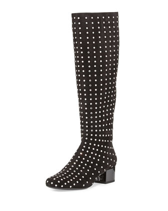 Suede Crystal-Stud Knee Boot, Black
