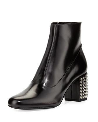 Stud-Heel Leather Ankle Boot, Black
