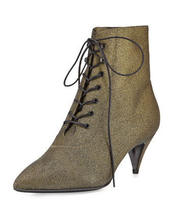 Metallic Lace-Up Kitten-Heel Bootie