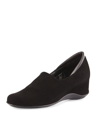Viviane Suede Slip-On Wedge, Black