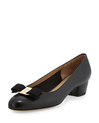 Vara Leather Bow Pump, Nero