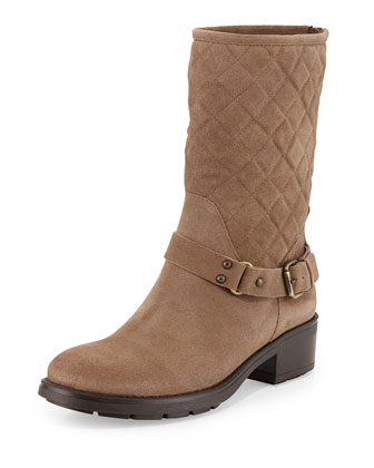 Sage Quilted Suede Moto Boot, Gray