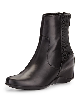 Veronik Leather Wedge Bootie, Black