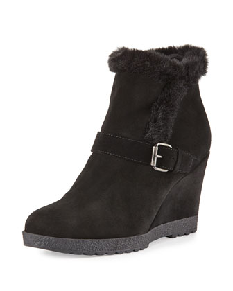 Carlotta Suede Wedge Bootie, Black