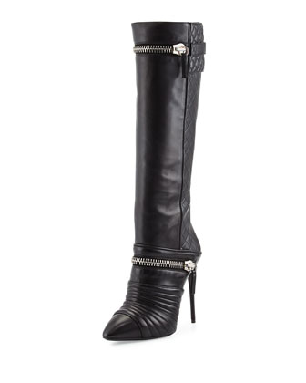 Quilted Double-Zip Knee Boot, Black