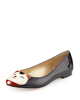 jimi kitty-face ballerina flat, black/cream
