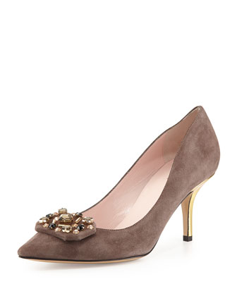 jottle suede crystal-buckle pump, dark taupe