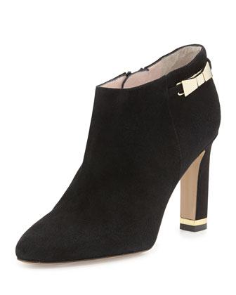 aldaz suede bow ankle bootie, black