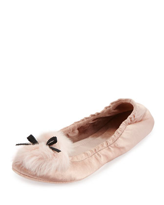 camden satin pom pom slipper, dusty pink