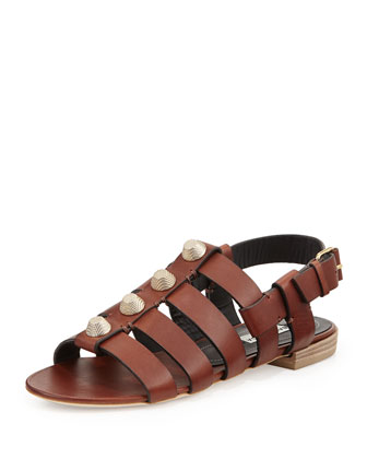 Studded Leather Flat Sandal, Cognac