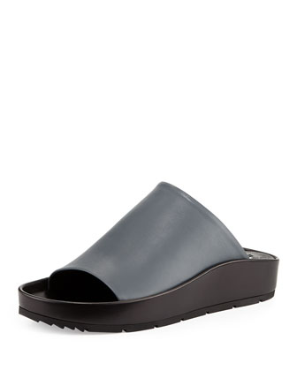 Chunky Leather Mule, Gray