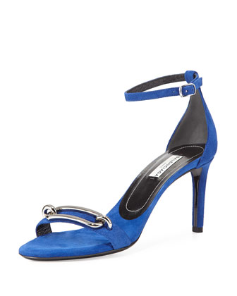 Suede Buckle Sandal, Royal