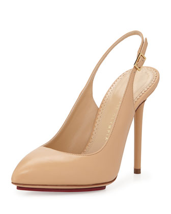 Monroe Leather Slingback Pump, Nude