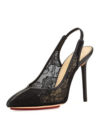 Monroe Lace Slingback Pump, Black