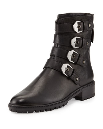 Jitterbug Leather Moto Boot, Black